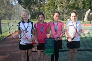 ERT Winter JDC3 Premiership team. Players fro Left to right are , Phoebe Cosson, May Flamsteed, Ruby Holloway and Eliza Hoiles.